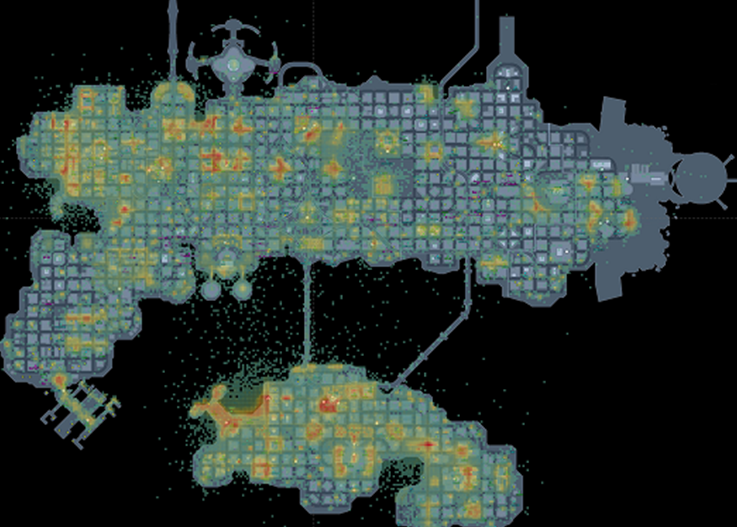 A heatmap in Tableau for the game DC Universe Online.